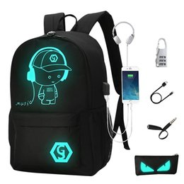 Wholesale 2018 Backpacks Student Luminous Animation School Bags For Boy Girl Teenager Usb Charge Computer Anti theft Laptop Back Pack SH190806