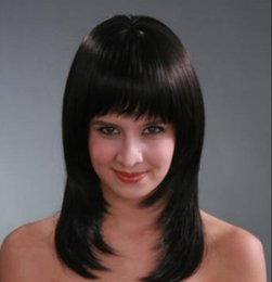 $enCountryForm.capitalKeyWord Australia - WIG FREE SHIPPING Hot heat resistant Party hair>>>>Black Medium Straight have bangs Women Hair High quality wig