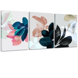 Painting Plants Australia - Amosi Art 3 Piece Abstract Plant Leaves Canvas Wall Art Leaf Picture Artwork Framed Art Painting Prints for Home Office Bedroom Decoration