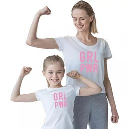 $enCountryForm.capitalKeyWord Australia - Mother With Daughter T-Shirt Big Girl Summer Tops Letter Printing O-Neck Short Sleeve T-Shirt Family Matching Outfit Casual Active Tops