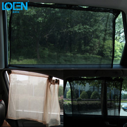 Block Mesh Australia - LOEN 2 PCS Shrinkable Windowshade Mesh Curtain Car Side Window Sunshades for Auto Windshield Sun Block - Black Beige Gray