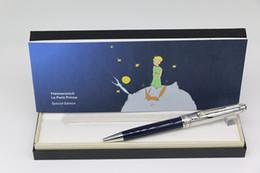 Luxo o pequeno príncipe série MB caneta esferográfica para cima de prata e para baixo da cor azul com prata Guarnição escritório escola oferta caneta presente