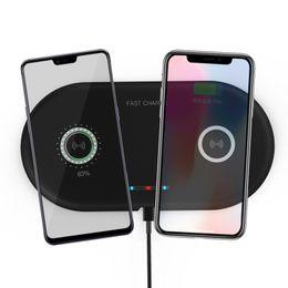 Venta al por mayor de 2 en 1 Dual QI Base de cargador inalámbrico Cargador rápido Cargador de teléfono de carga rápida para iPhone X XS Samsung S9 S8 Edge Note9 Huawei P20 P30