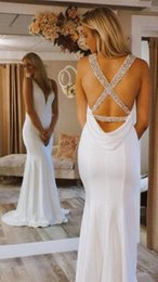 $enCountryForm.capitalKeyWord Australia - Beach Style Mermaid V Neck White Beach Wedding Dresses Sweep Train Chiffon Backless Bridal Wedding Gowns Crystal Sequines