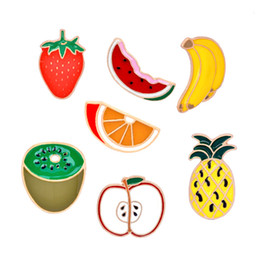Discount red kiwi fruit new Watermelon Kiwi Strawberry Orange Banana Apple Pineapple Cartoon Fruit Fashion Brooches For Women And Kids