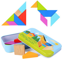 unisex wood toy Australia - 7Pcs Classic Geometric Shape Tangram Wooden Puzzle Wood Jigsaw Puzzle Kit Children Toys Educational Gift With Colorful Iron Box