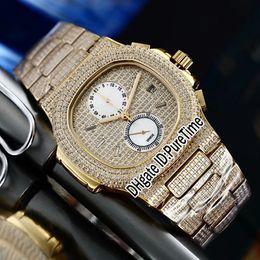 $enCountryForm.capitalKeyWord NZ - Best Version 5990 Yellow Gold All Diamond White Dial Miyota Quartz Chronograph Mens Watch Sports Watches Stopwatch Stainless Steel PB315a1
