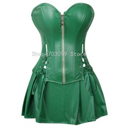747cca39ef9 Sexy Corset Dress Women s Faux Leather Overbust Corset Bustier with Mini  Skirt Poison Ivy Costume Green Plus