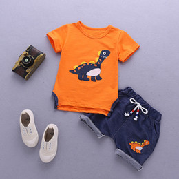 Organic Clothes For Kids NZ - Baby Boys Clothes Sets Children Clothing Summer Short Sleeve Tracksuit For Boys Sport Suits Animal Costume For Kids Clothes