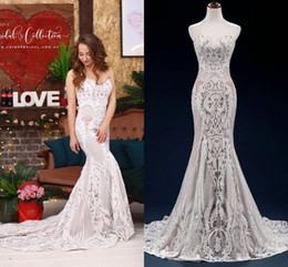 Discount plus size boho skirts - Vintage Champagne Lace Appliqued Strapless Mermaid Bohemian Wedding Dress Luxury Sweetheart Backless Beach Boho Bridal G
