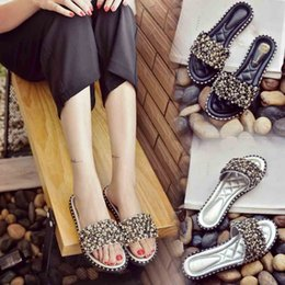 Shiny SlipperS online shopping - xiniu New Summer Slippers Women s Word Shiny Rhinestone Slippers Beach Shoes Flat Non Slip Fashion Shoes