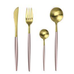 $enCountryForm.capitalKeyWord UK - 4-pcs Pink Dinnerware Set 304 Stainless Steel Silverware Cutlery Set Fork Knife Dessert Kitchen Dinner Food Tableware Black Gold SH190715