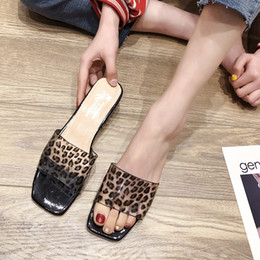 Discount new trend men fashion shoes - 2019 Summer New Korean Version Trend Fashion Leopard Slippers Women's Shoes Thick Heel Mid-heel Non-slip Sandals an
