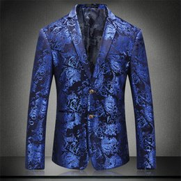 designer tuxedos men NZ - 5XL Fashion Designer Mens Suit Blue Outerwear With Single Button Mens Tuxedo Grooms Suits Male Clothing