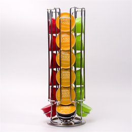 China Dolce Gusto Coffee Pod Holder Rotating Rack 24 PCS Coffee Capsule Stand Capsules Storage For Dolce Gusto Display Metal Kitchen Supplies supplier eco pods suppliers