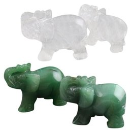 carved stone figurines Canada - Whosale Crystal Elephant Figurines Craft Carved Natural Stone Mini Animal Statue Decor For Craving Lucky Home Office Ornaments