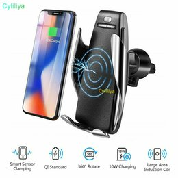 $enCountryForm.capitalKeyWord Australia - S5 Wireless Car Charger Automatic Clamping For iphone Android Air Vent Phone Holder 360 Degree Rotation 10W Fast Charging with Box