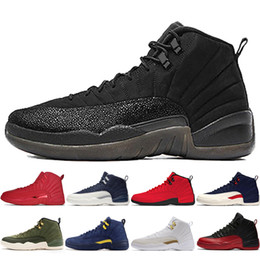 China 12 12s Gym red Bulls mens Basketball shoes Michigan International Flight College Navy Flu Game Taxi UNC Sunrise men sports sneakers designer cheap flight game suppliers