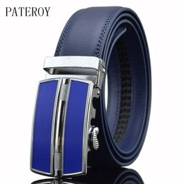 mens leather belts white Canada - [PATEROY] Designer Belts Men High Quality Genuine Leather Belt Mens Belts Luxury Ceinture Homme Luxe Marque Blue Automatic Kemer