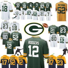 Green Bays Jersey Packers 12 Aaron Rodgers 52 Clay Matthews New 80 Jimmy  Graham 23 Jaire Alexander 37 Jackson 4 Brett Favre 17 Davante Adams 9900f77ce