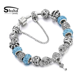 $enCountryForm.capitalKeyWord Australia - shshd Luxury Crystal Heart Beads Bracelets Bangles Plated Sliver Women Charm Bracelet for Friendship DIY Jewelry Femme Pulseira