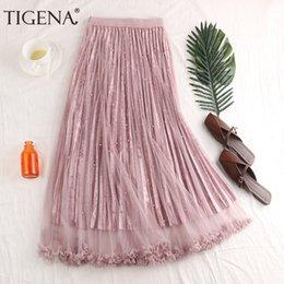 VelVet high waist shorts online shopping - Tigena Fashion Beading Tulle Velvet Skirt Women Spring Elegant Long Maxi Skirt Female High Waist Pleated Girls Skirt Pink J190620