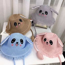 Wholesale Cute Children Weaving Cartoon Hat Toddlers Baby Kids Lovely Rabbit Bunny Ears Caps Will Move The Rabbit Hat Girls Gift