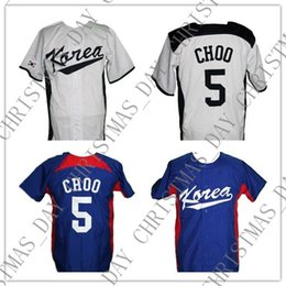 Wholesale Cheap Custom Shin Soo Choo South Korea Baseball Jersey Button Down White Blue Stitched Any player jersey college baseball jersey XS XL