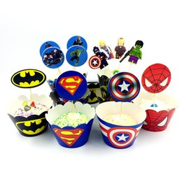 Wholesale 12 Set Superhero Avengers Cupcake Wrappers Cake Box Toppers Spiderman Batman Label Birthday Party Kids Boy Favor Decoration Supplies