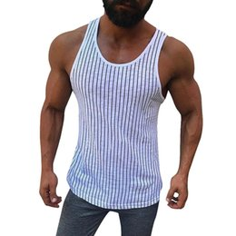$enCountryForm.capitalKeyWord Australia - 2019 Fashion Men's Casual Striped Sleeveless Tops Summer O Neck Fitness Vest Beach Sportswear Mens Basic Slim Fit Tank Tops