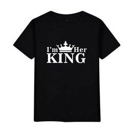 f636c481895af4 Herren Designer T-Shirts T-Shirt Kleidung der weißen Kleidung  grenzüberschreitenden neuen Buchstaben KING QUEEN Paar Modelle Mode  kurzärmeliges T-Shirt