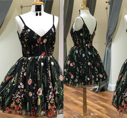 plus sizes models NZ - 2020 Spring Floral Flowers Cocktail Party Dresses Plus size with Spaghetti Straps A line Short Tulle Graduation Homecoming Dress Cheap