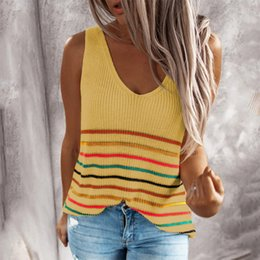 sleeveless knitted tank top NZ - Sexy Sleeveless V-Neck loose Beach Tank Tops Women Casual Vest Tee 2020 Summer NEW fashion simple striped knitted tank tops