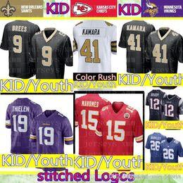 c0c301657 KID 19 Adam Thielen Minnesota Vikings Jersey Youth 15 Patrick Mahomes  Kansas City Kid Chiefs 41 Alvin Kamara 9 Brees Orleans Saints