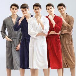 $enCountryForm.capitalKeyWord Australia - Wholesale Hotel absorbent and quick-drying towel bathrobe spring and summer thin robe male pure white Japanese and Korean yukata pajamas