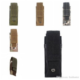 Wholesale Tactical Molle Pouch Tactical Single Pistol Magazine Pouch Knife Flashlight Sheath Airsoft Hunting Ammo Camo Bags Tactical Waist Packs.