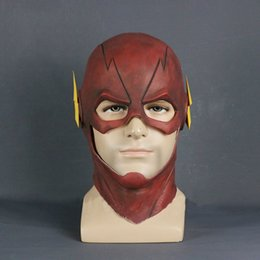 Cosplay Latex Head Mask Australia - adult The Flash DC Barry Allen Mask Cosplay Costume Prop Halloween Red Full Head Latex Party Masks Adult