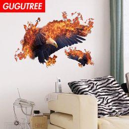 $enCountryForm.capitalKeyWord Australia - Decorate home 3D fire eagle cartoon art wall sticker decoration Decals mural painting Removable Decor Wallpaper G-2463