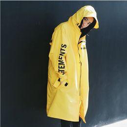 Toptan satış erkekler Hip Hop VETEMENT Kolloid Uzun Adam Büyük Boy Yağmur Coat WINDBREAKER Su geçirmez Erkek Palto Gevşek Hoodie Ceket