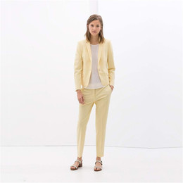 $enCountryForm.capitalKeyWord NZ - Yellow Women Business Suits Ladies Formal Peak Lapel Office Uniform Style 2 Piece Work Wear Women Tuxedos Female Trouser Suit