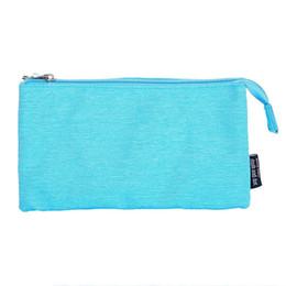 Blue Cosmetics Bag Australia - Super Capacity Pencil Case Three Compartment Pencil Holer Pouch Pen Bag Cosmetic Bag(Sky Blue)