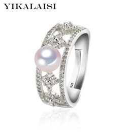 Ring Pearl Celtic Australia - Fashion Jewelry YIKALAISI 925 Sterling Silver natural freshwater Pearl Fashion Rings jewelry For Women 6-7mm Pearl Rings 4 Colour