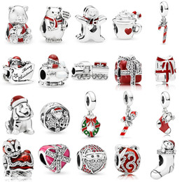 pandora christmas charms Australia - 925 Sterling Silver Multi Style Santa Claus Charms Christmas Train Charm Cocoa & Candy Cane Bead Fit Pandora Original Bracelets DIY Jewelry