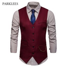wedding dress petal appliques Australia - Gilet Chic Gold Chain Vintage Suit Vest Men 2019 Hipster Single Breasted Wedding Red Mens Dress Vest Business Casual Gilet