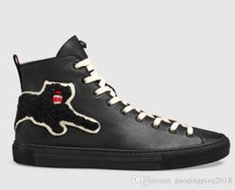 Metal Sneakers Australia - Tiger Head Feline Shoes Boots Drivers Moccasins Loafers Sneakers Dress Shoes Metal Feline High-top Ace Sneaker With Removable Patches