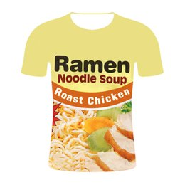 $enCountryForm.capitalKeyWord Australia - Ramen Printed Food European-sized Men's 3D T-shirt with Round Neck and Semi-short Sleeves in Summer
