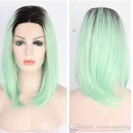 $enCountryForm.capitalKeyWord Australia - New Popular Black Roots Ombre Green Short Bob Straight Lace Front Wig Heat Resistant Dark Roots Synthetic Hair Glueless Lace Wigs For Women