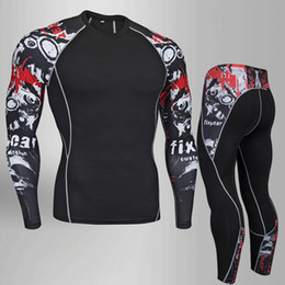 Long Sleeves Compression T Shirts Australia - Fitness Mma Compression Rash Guard Male Long Sleeve Crossfit Bodybuilding Men Skull Print 3d T Shirt Tops Q190522