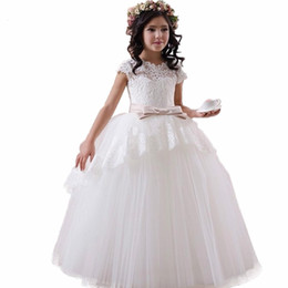 $enCountryForm.capitalKeyWord Australia - Ball Gown Cap Sleeve Appliques Flower Girl Dress With Bow Puffy Long Children Party Gowns Wedding Formal Occasion