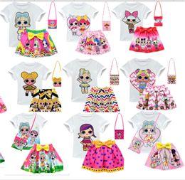 $enCountryForm.capitalKeyWord Australia - Surprise Girls Suits 3-10Y Kids Outfits T shirt + skirt + bag 3 Pieces Set Children Short Dress Top Tee Set INS Baby Summer Clothing B73003